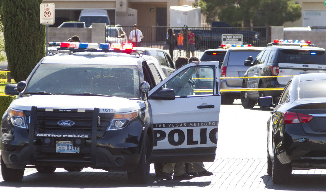Las Vegas police investigate a shooting at a wellness and pain care facility at 311 North Buffalo Drive in Las Vegas on Thursday, June 29, 2017. Richard Brian Las Vegas Review-Journal @vegasphotograph