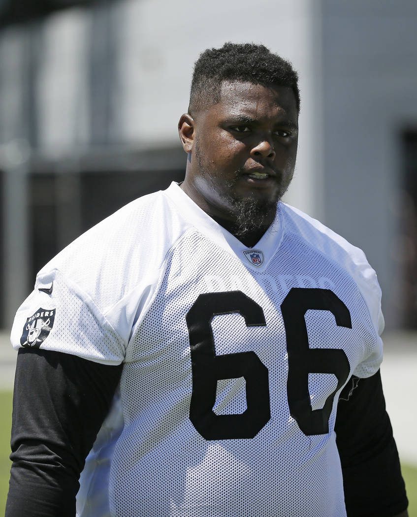 Oakland Raiders guard Gabe Jackson during the team's football minicamp Wednesday, June 15, 2016, in Alameda, Calif. (AP Photo/Eric Risberg)