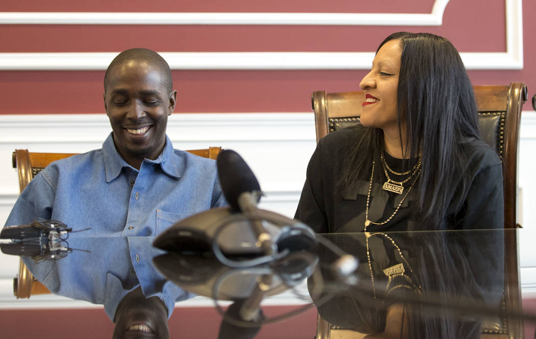 DeMarlo Berry with his wife Odilia Berry during a news conference at the law office of Eglet Prince in downtown Las Vegas on Friday, June 30, 2017, after being exonerated in a 1994 murder. (Richar ...