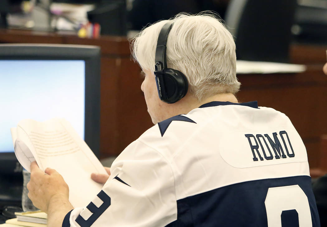 Thomas Randolph, who is found guilty on two counts of murder and one count of conspiracy to commit murder, appears in court, wearing a Tony Romo jersey, during his death penalty phase trial at the ...