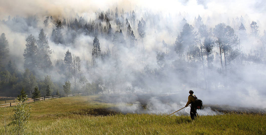 In this Wednesday, June 28, 2017 photo, firefighters work to control a wildfire along Lightner Creek Road west of Durango, Colo. Colorado Gov. John Hickenlooper has declared a disaster emergency t ...