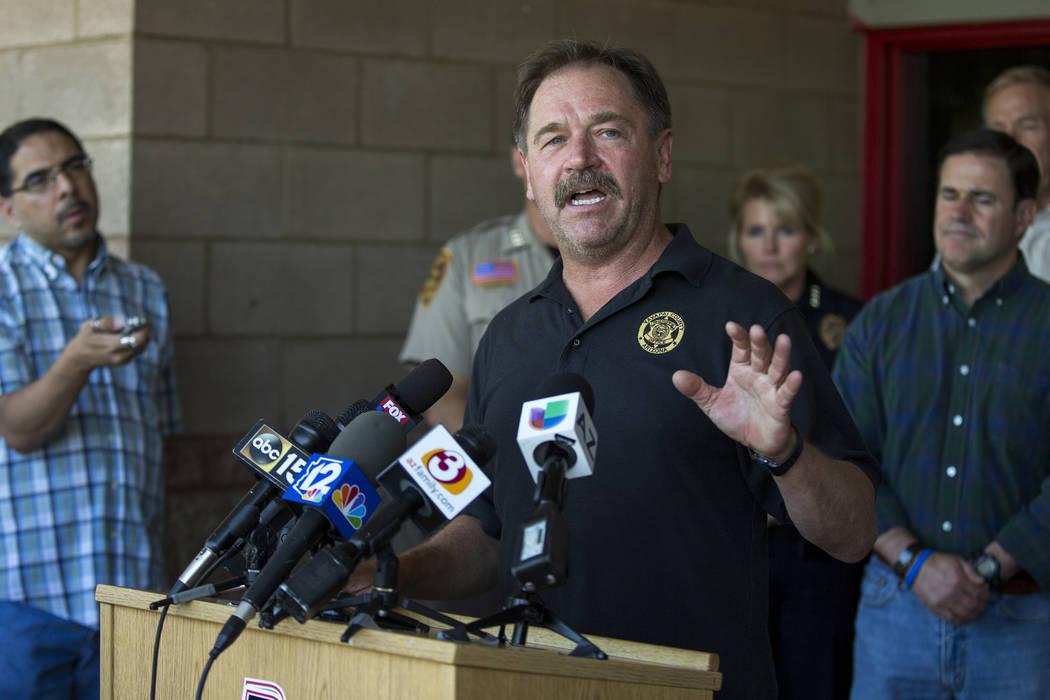 Yavapai County Sheriff Scott Mascherat speaks during a news conference at an evacuation center on Thursday, June 29, 2017, in Prescott Valley, Ariz. Crews made considerable progress Thursday fight ...
