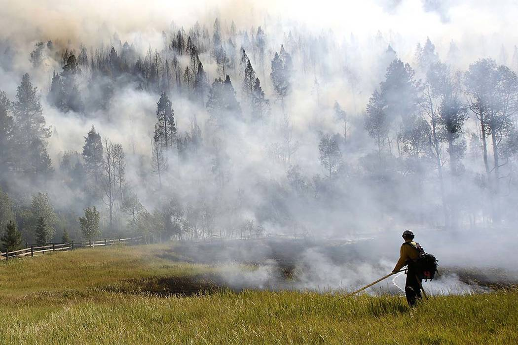 In this Wednesday, June 28, 2017 photo, firefighters work to control a wildfire along Lightner Creek Road west of Durango, Colorado. Colorado Gov. John Hickenlooper has declared a disaster emergen ...