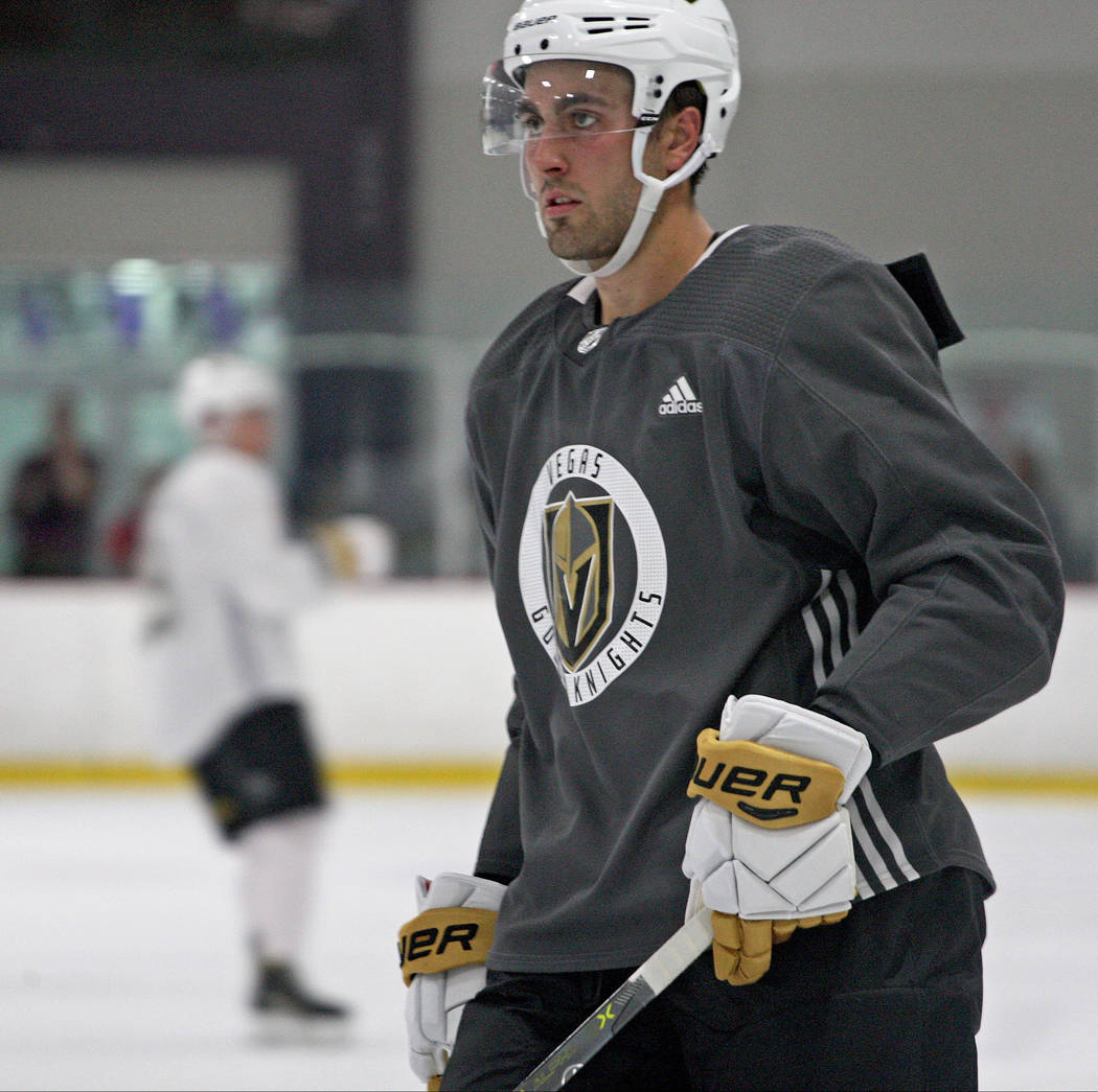 Alex Tuch, prospect for the Vegas Golden Knights, waits for the team's exhibition game to begin at the Las Vegas Ice Center, Thursday, June 29, 2017. Gabriella Benavidez Las Vegas Review-Journal @ ...