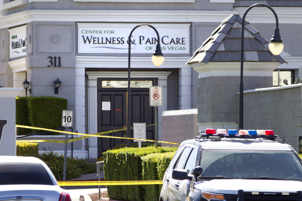 Las Vegas police investigate a shooting at a wellness and pain care facility at 311 N. Buffalo Drive in Las Vegas on Thursday, June 29, 2017. (Richard Brian Las Vegas Review-Journal) @vegasphotograph