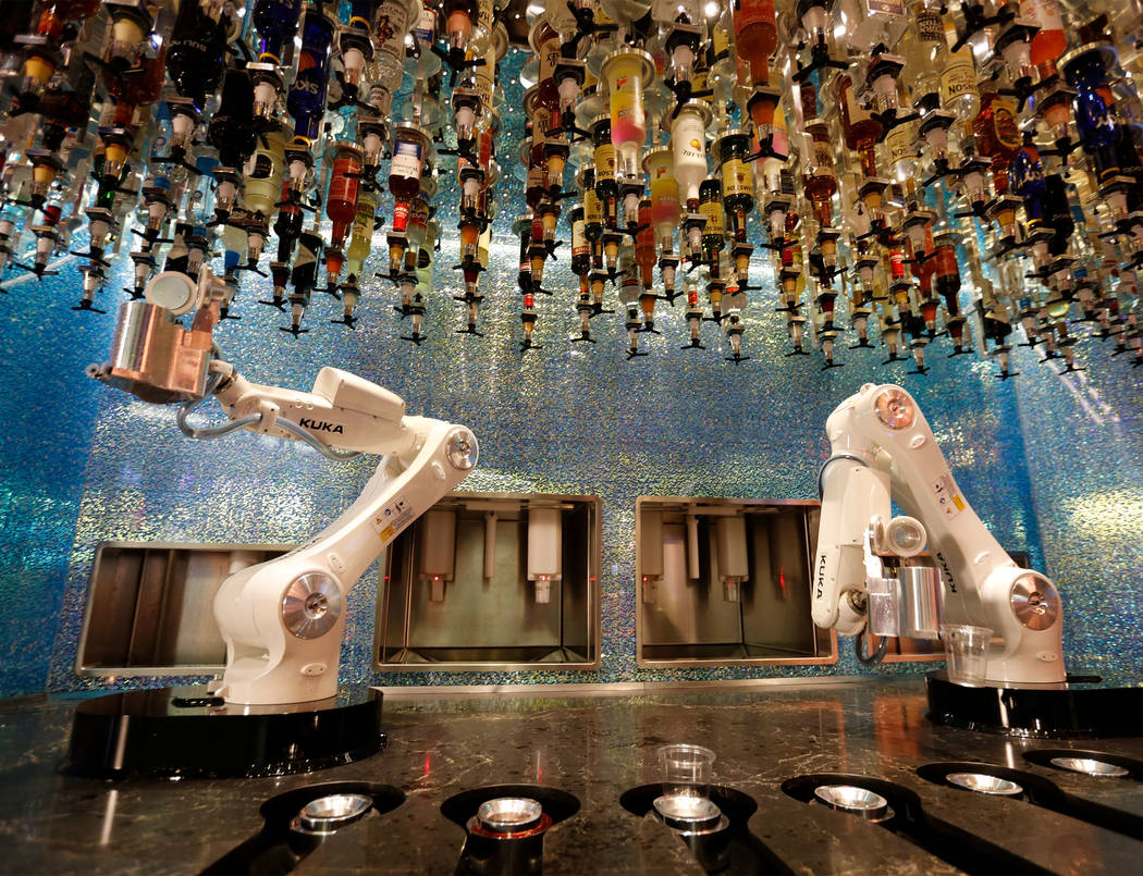 Robots demonstrate to make drinks at Tipsy Robot in the Miracle Mile Shops in Las Vegas, Monday, June 26, 2017. (Chitose Suzuki Las Vegas Review-Journal) @chitosephoto