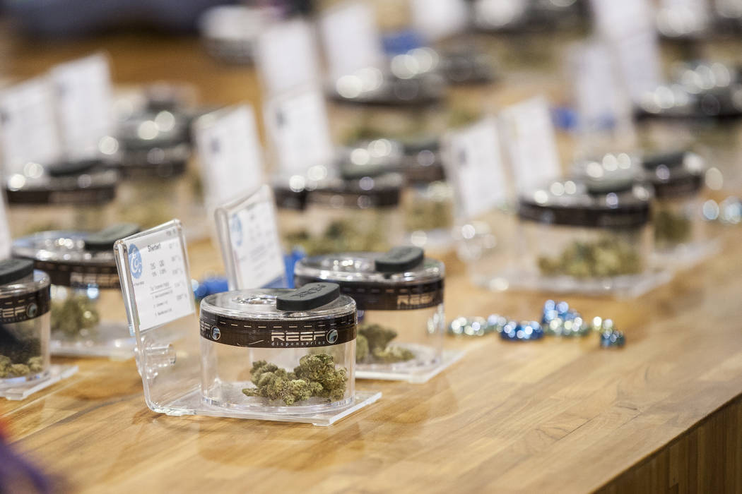 A selection of marijuana strains at Reef Dispensaries near the Las Vegas Strip on Thursday, June 29, 2017.  (Patrick Connolly/Las Vegas Review-Journal) @PConnPie