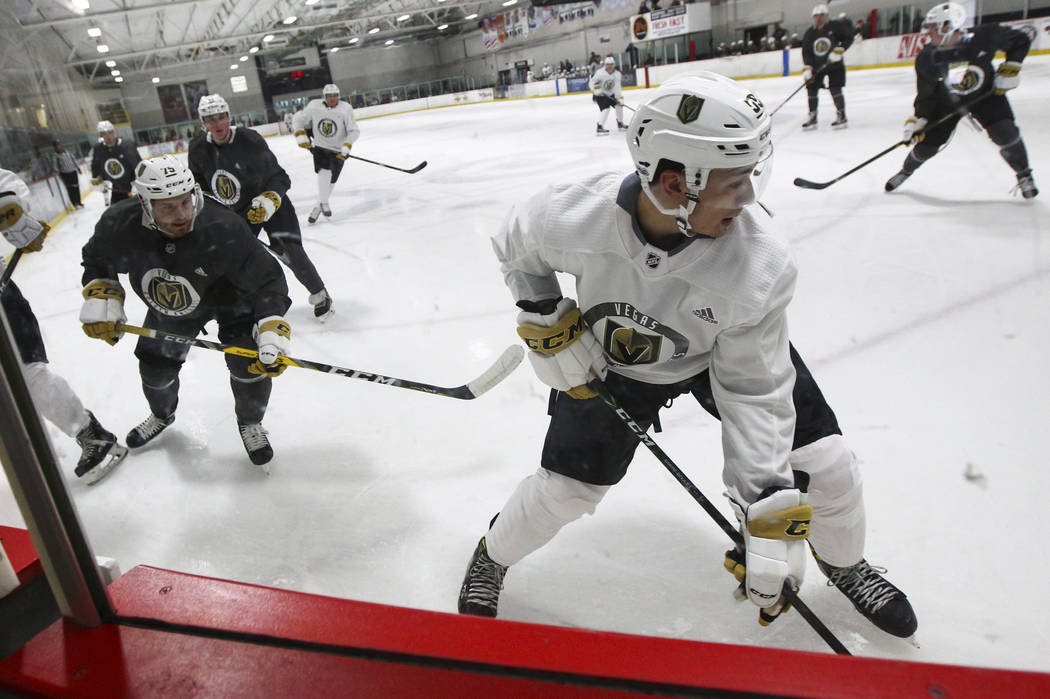 Vegas Golden Knights' Alex Barre-Boulet, right, during a scrimmage as part of the team's development camp at Las Vegas Ice Center in Las Vegas on Friday, June 30, 2017. Chase Stevens Las Vegas Rev ...