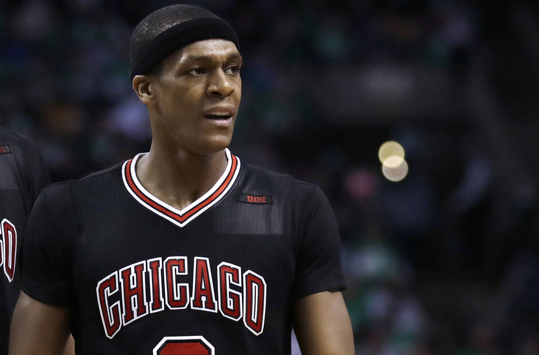 Chicago Bulls guard Rajon Rondo (9) during the second quarter of a first-round NBA playoff basketball game in Boston, Tuesday, April 18, 2017. (AP Photo/Charles Krupa)