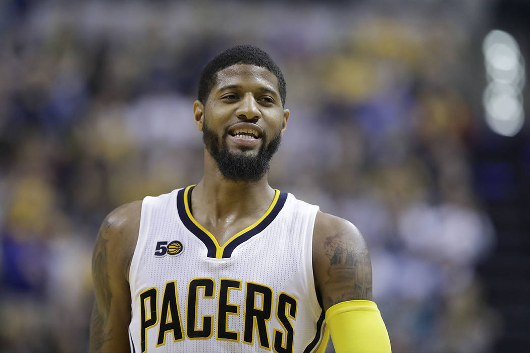 Indiana Pacers' Paul George in action during the second half of an NBA basketball game against the Atlanta Hawks, Wednesday, April 12, 2017, in Indianapolis. (AP Photo/Darron Cummings)