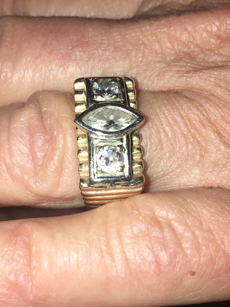 The ring worn by Chris Giunchigliani, which is a merger of her wedding band and the one worn by her late husband, Gary Gray, was redesigned in 2016. (John Katsilometes/Las Vegas Review-Journal). @ ...