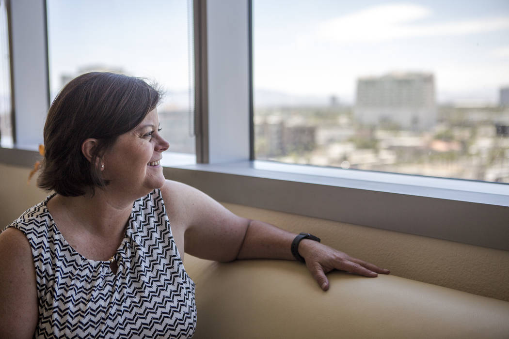 Las Vegas City Manager Betsy Fretwell looks out of the window of her office at Las Vegas City Hall on Wednesday, May 24, 2017. Fretwell will be taking a job with Switch Communications in July. (Pa ...