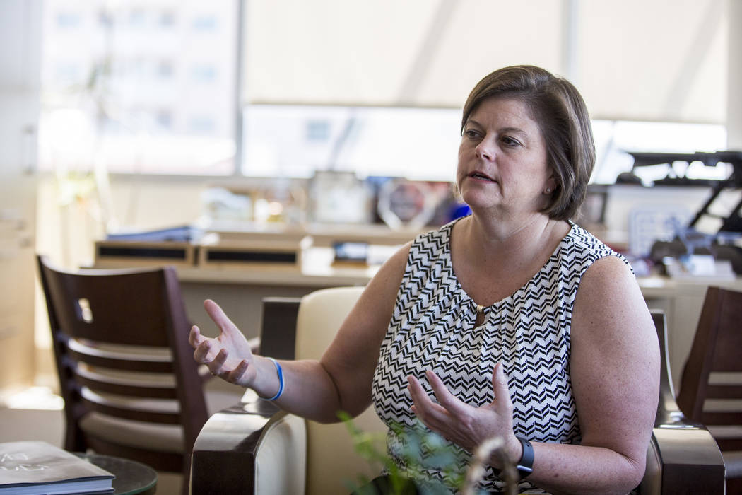 Las Vegas City Manager Betsy Fretwell reflects on her time as city manager in her office at Las Vegas City Hall on Wednesday, May 24, 2017. Fretwell will be taking a job with Switch Communications ...