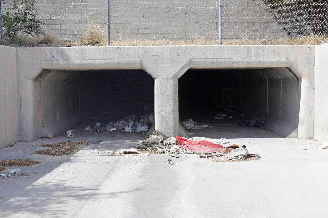 """An entrance to the flood tunnels on Tuesday, May 16, 2017, in Las Vegas. Matthew O'Brien spent years interviewing the hundreds of people that live there, eventually writing the book """"Bene ..."""