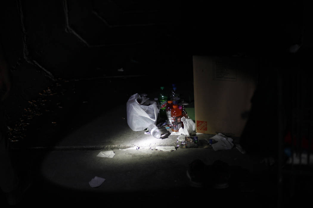 Food and belongings in the flood tunnels on Tuesday, May 16, 2017, in Las Vegas. Rachel Aston Las Vegas Review-Journal @rookie__rae