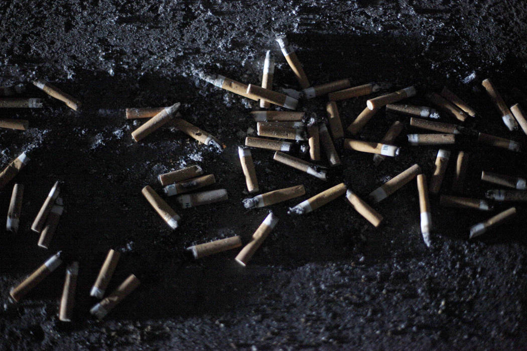 Used cigarettes on the floor of a flood tunnel on Tuesday, May 16, 2017, in Las Vegas. Rachel Aston Las Vegas Review-Journal @rookie__rae