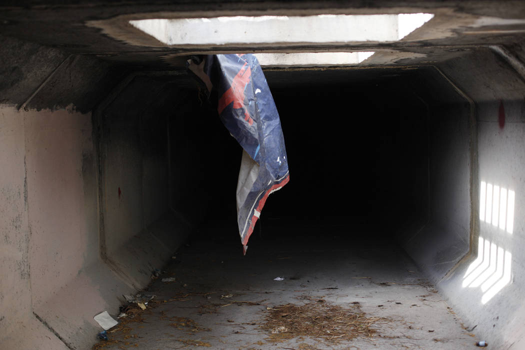 """A flood tunnel on Tuesday, May 16, 2017, in Las Vegas. Matthew O'Brien spent years interviewing the hundreds of people that live there, eventually writing the book """"Beneath the Neon&q ..."""