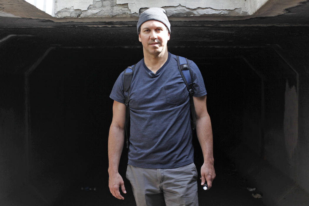 "Matthew O'Brien in a flood tunnel on Tuesday, May 16, 2017, in Las Vegas. O'Brien spent years interviewing the hundreds of people that live there, eventually writing the book ""Beneath the ..."