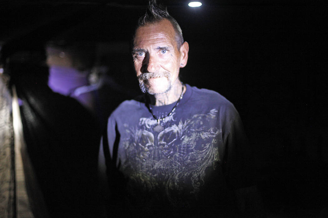 """""""Spike"""" at his encampment inside a flood tunnel on Tuesday, May 16, 2017, in Las Vegas. Rachel Aston Las Vegas Review-Journal @rookie__rae"""