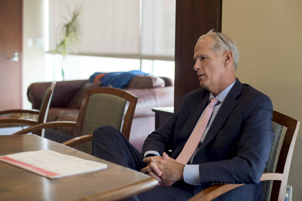District Judge Douglas Herndon speaks with a reporter at the Regional Justice Center on Thursday, June 8, 2017, in Las Vegas. Starting July 1, a team of four judges, including Herndon, in Clark Co ...