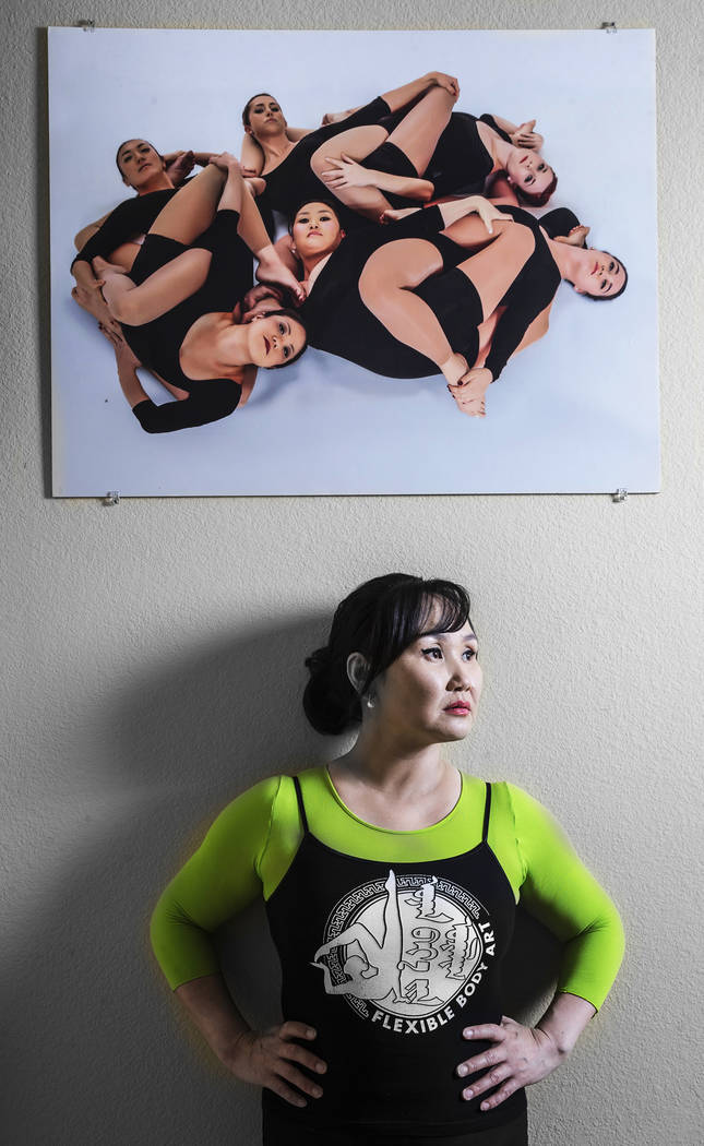 Otgo Waller, a contortionist from Mongolia with over 35 years of industry experience, at her home studio on Tuesday, June 13, 2017, in Las Vegas. Benjamin Hager Las Vegas Review-Journal @benjaminh ...