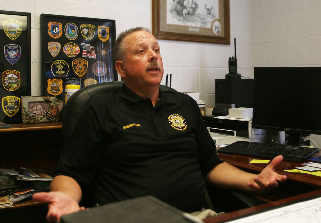 Lincoln County Sheriff Kerry Lee at the Lincoln County Sheriff's Office in Pioche on June 13, 2017. (Elizabeth Brumley/The Las Vegas Review-Journal)