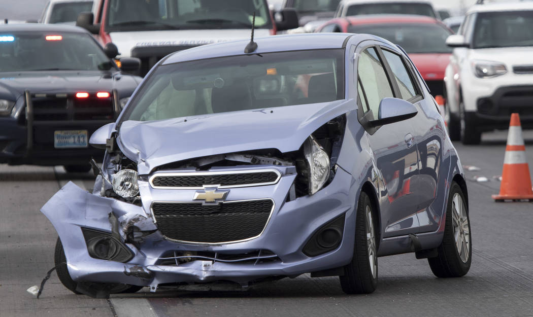 The scene of a crash on northbound U.S. Highway 95 near East Tropicana Avenue on Thursday, June 8, 2017. Richard Brian Las Vegas Review-Journal @vegasphotograph