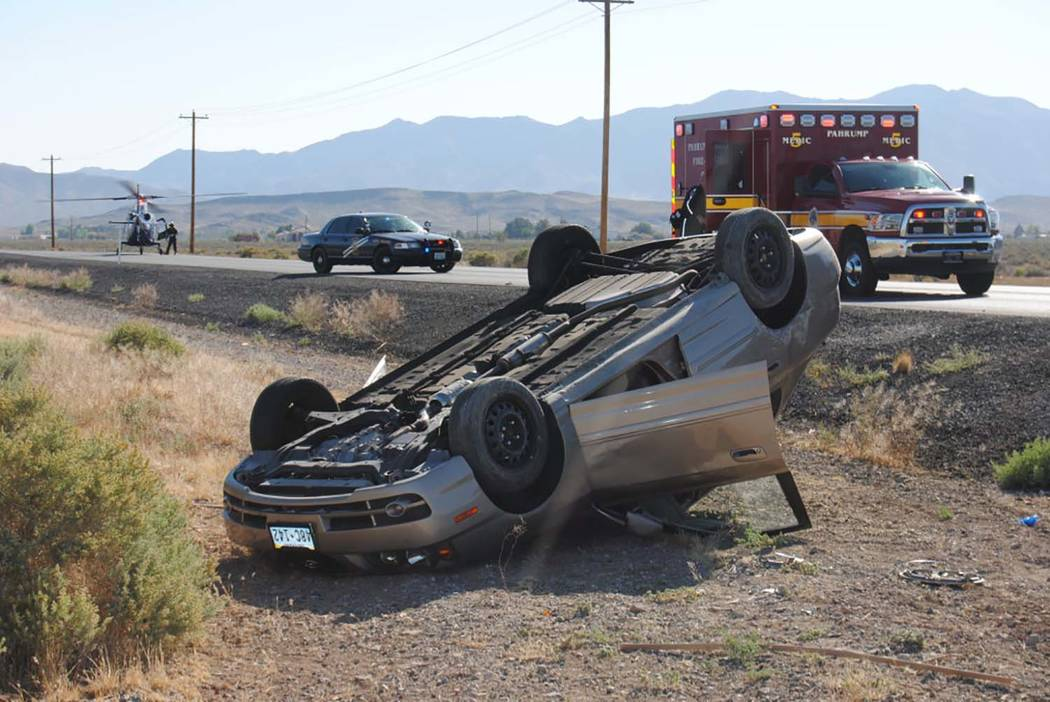 Special to the Pahrump Valley Times One person was flown to UMC Trauma in Las Vegas following a single-vehicle rollover crash along Highway 372 near Woodchips Road on Thursday. The extent of the i ...