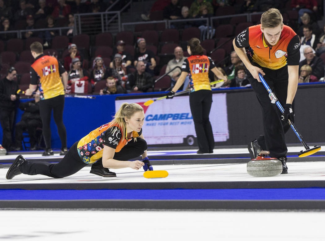 Sara McManus, left, and Christoffer Sundgren compete in mixed doubles during the 2017 World Financial Group Continental Cup on Friday, Jan. 13, 2017, at the Orleans Arena, in Las Vegas. Benjamin H ...