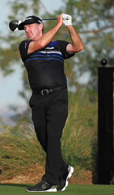 Rod Pampling tees off at the 16th hole the Shriners Hospitals for Children Open golf tournament on the at TPC Summerlin in Las Vegas, Sunday, Nov. 6, 2016. Josh Holmberg/Las Vegas Review-Journal
