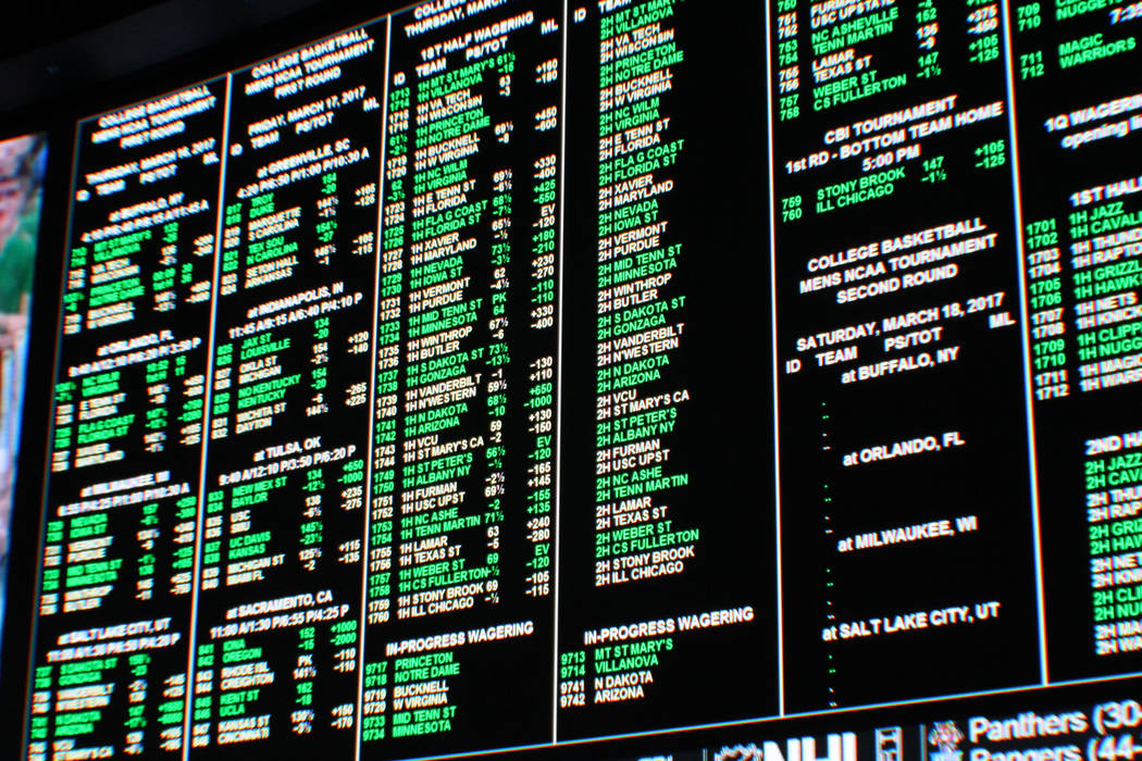 The gambling board at the Westgate in Las Vegas during the NCAA March Madness tournament on March 16, 2017. (Gabriella Benavidez/Las Vegas Review-Journal) @gabbydeebee