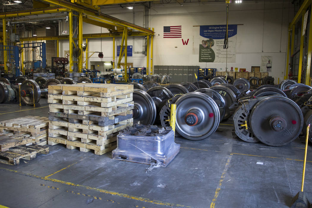 Refurnished locomotive traction motors inside the GE Transportation plant in Las Vegas on Thursday, June 22, 2017. Erik Verduzco/Las Vegas Review-Journal