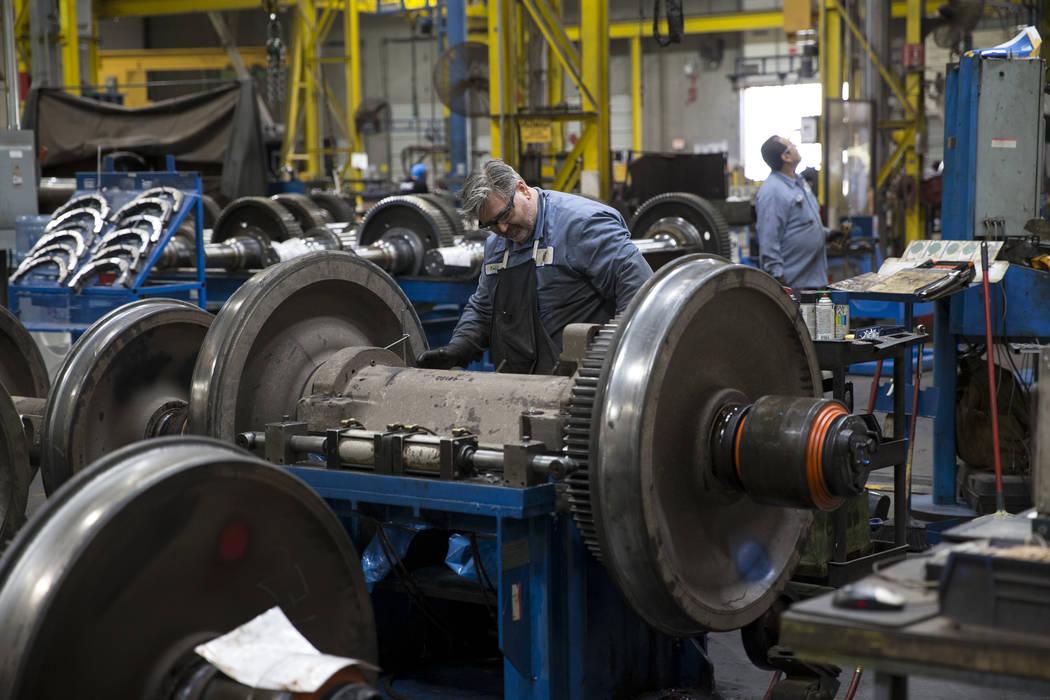 Machine operator Todd Wallis inside the GE Transportation plant where locomotive traction motors are refurbished on Thursday, June 22, 2017 in Las Vegas. Erik Verduzco/Las Vegas Review-Journal