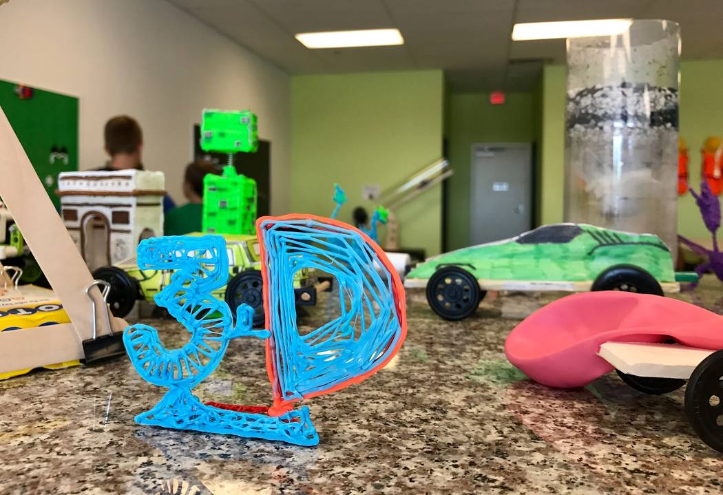 The walls and counters of Engineering for Kid's offices in Southwest Las Vegas are decorated with student projects. (Madelyn Reese/View) @MadelynGReese
