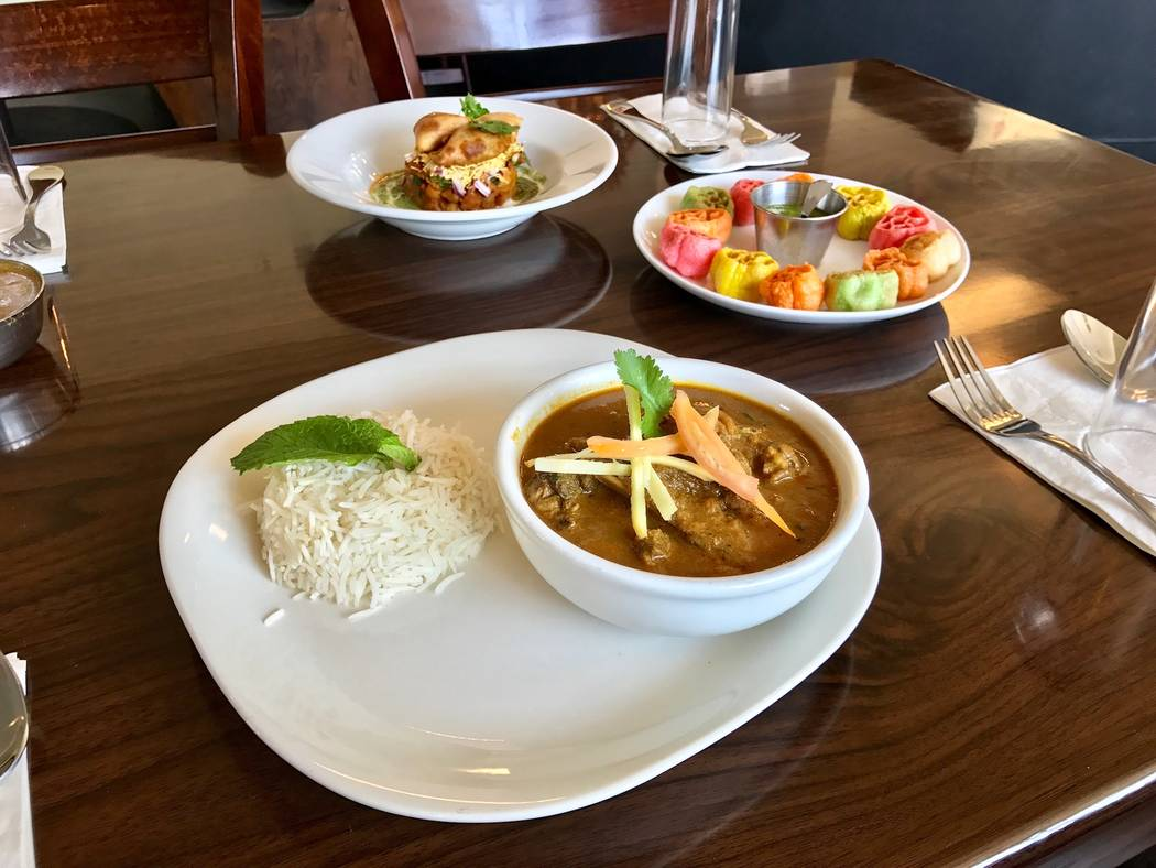 Chennai mutton curry served bone in with a side of rice. (Madelyn Reese/View) @MadelynGReese
