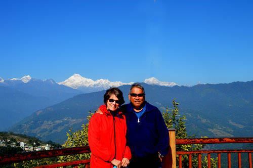 Diane and Ron Dizon in front of the mountains of Sikkim, a state in northeast India bordered by Bhutan. (Ronaldo Dizon).