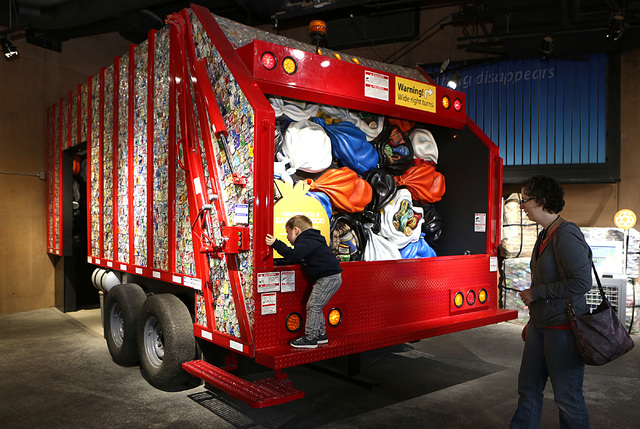 Owen Banko, 3, of Henderson checks out a garbage truck as his mother Michelle looks on at Sustainability Gallery at the Springs Preserve in Las Vegas on Thursday, Feb. 2, 2017. (Bizuayehu Tesfaye/ ...