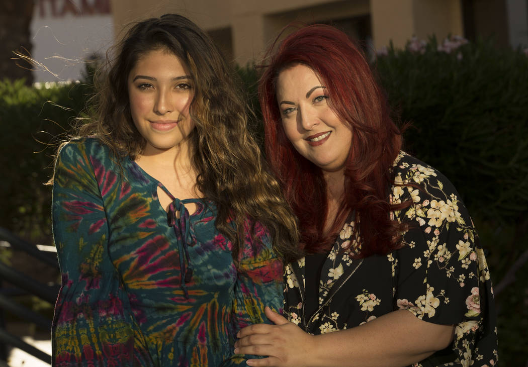 Transgender high school student Kristina Hernandez, 14, left, former student in the Clark County School District, with her mother Laura Hernandez, family and youth services coordinator for Gender  ...
