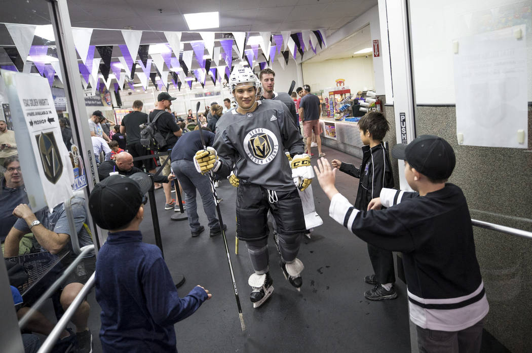 Tyler Wong is greeted by children during the Vegas Golden Knights Development Camp at the Las Vegas Ice Center in Las Vegas on Saturday, July 1, 2017. Richard Brian Las Vegas Review-Journal @vegas ...