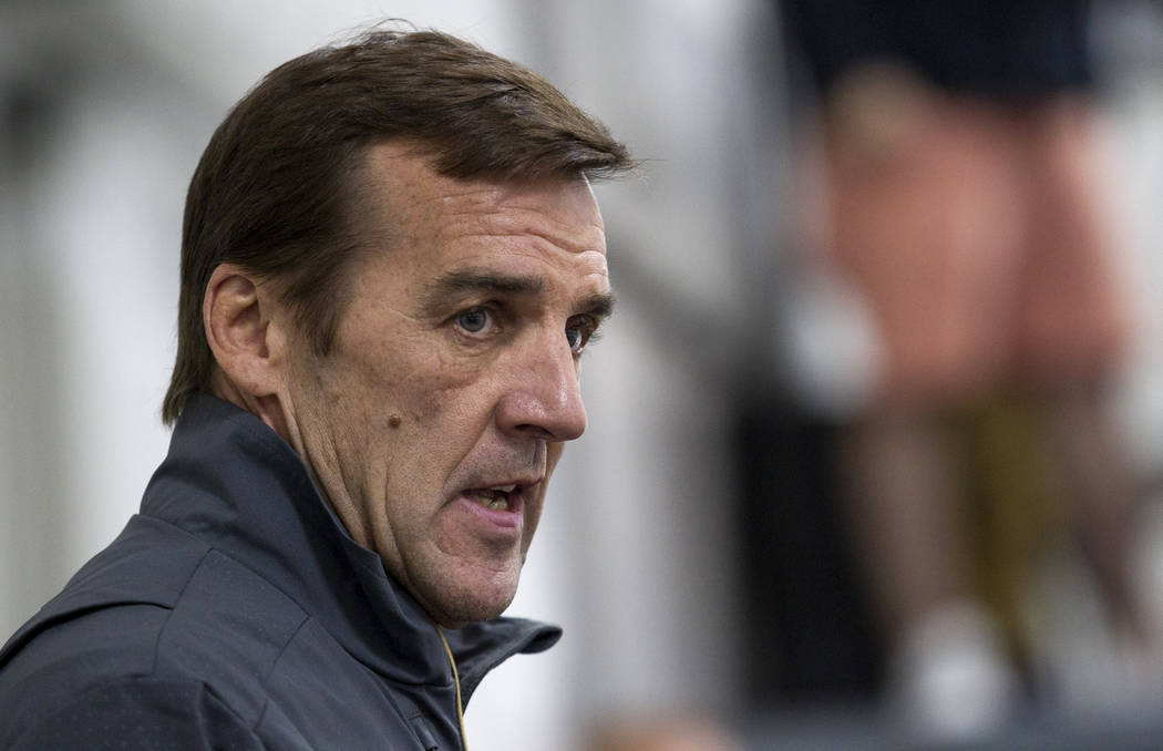 General Manager George McPhee talks to players following a scrimmage during the Vegas Golden Knights Development Camp at the Las Vegas Ice Center in Las Vegas on Saturday, July 1, 2017. Richard Br ...