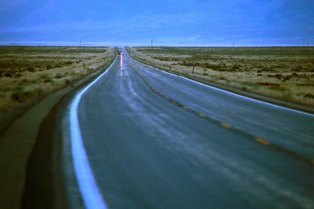 A motorist travels along U.S. Highway 50, near Cold Springs on Thursday, July 14, 2016. (Las Vegas Review-Journal)