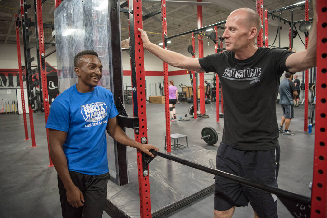 """American Ninja Warrior"" contestant Jelani Allen with instructor D.C. Baker at Camp Rhino on Tuesday, June 27, 2017, in Las Vegas. Morgan Lieberman Las Vegas Review-Journal"