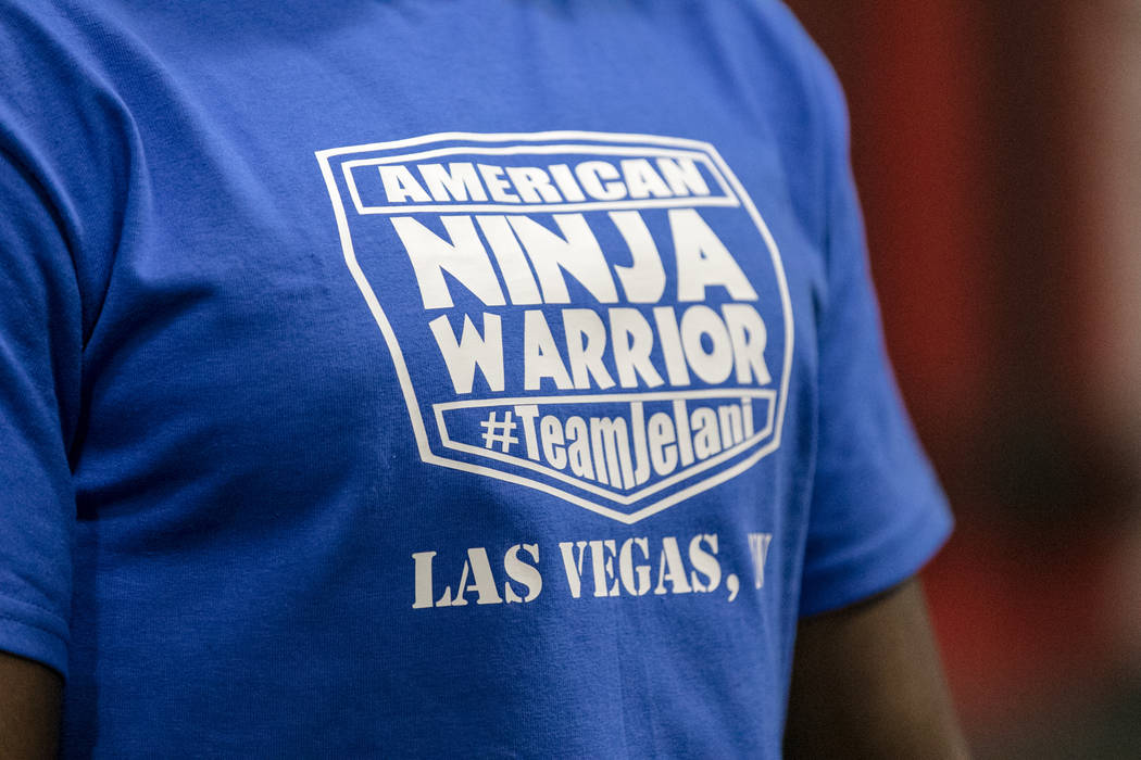 """American Ninja Warrior"" contestant Jelani Allen with his customized shirt at Camp Rhino on Tuesday, June 27, 2017, in Las Vegas. Morgan Lieberman Las Vegas Review-Journal"