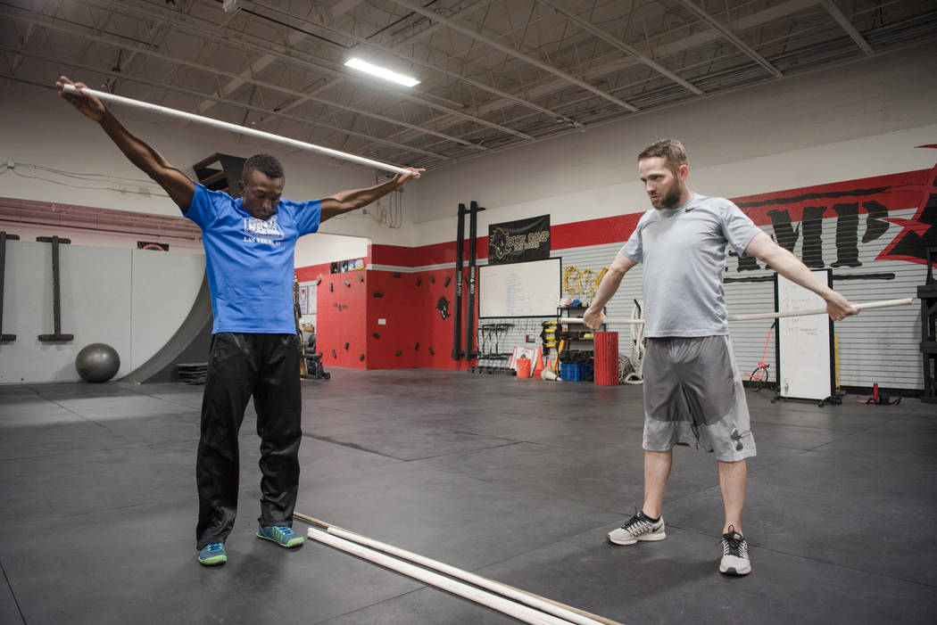 """American Ninja Warrior"" contestant Jelani Allen with Mike Miller, training at Camp Rhino on Tuesday, June 27, 2017, in Las Vegas. Morgan Lieberman Las Vegas Review-Journal"
