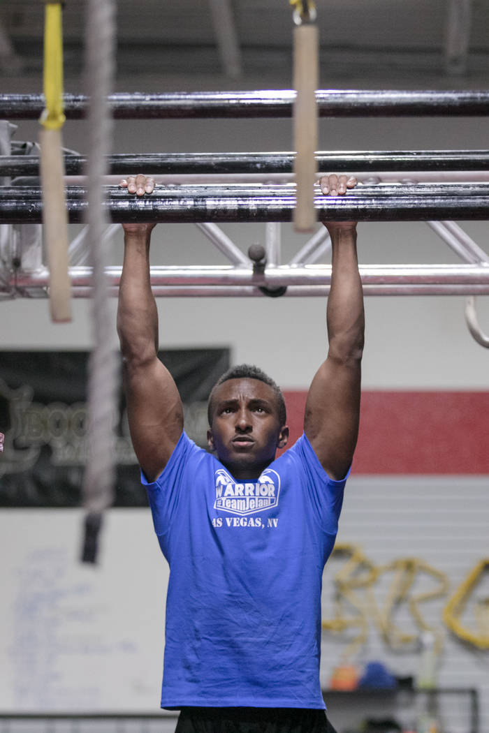 """American Ninja Warrior"" contestant Jelani Allen training at Camp Rhino on Tuesday, June 27, 2017, in Las Vegas. Morgan Lieberman Las Vegas Review-Journal"