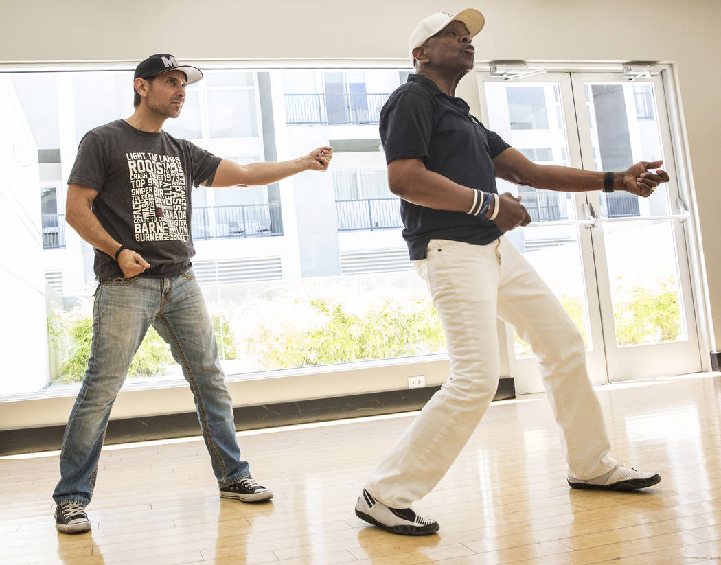 """Travis Cloer, left, and Bubba Knight rehearse for Broadway in the Hood's show """"From Broadway With Love,"""" on Tuesday, June 27, 2017, Loft 5's studio, in Las Vegas. Benjamin Hager  ..."""