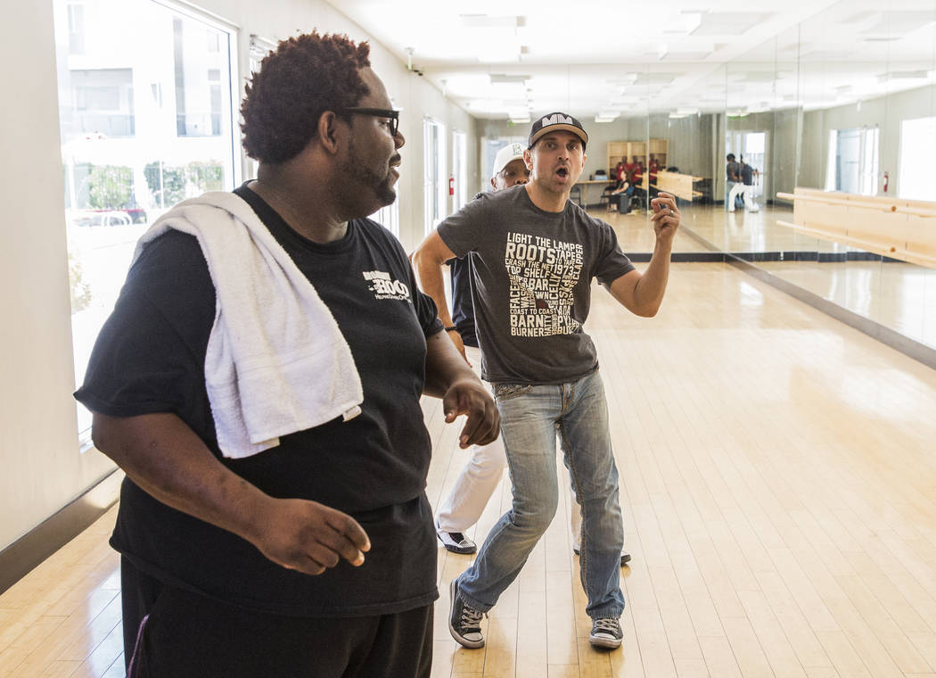 "Director Torrey Russell, left, works with Travis Cloer during rehearsal for Broadway in the Hood's show ""From Broadway With Love,"" on Tuesday, June 27, 2017, at Loft 5's studio, in Las Vegas. Benj ..."