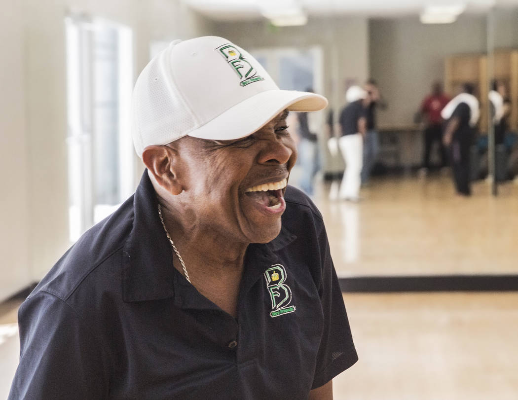 """Bubba Knight laughs with fellow performers during rehearsal for Broadway in the Hood's show """"From Broadway With Love,"""" on Tuesday, June 27, 2017, at Loft 5's studio, in Las Vegas. Benjamin Hager L ..."""