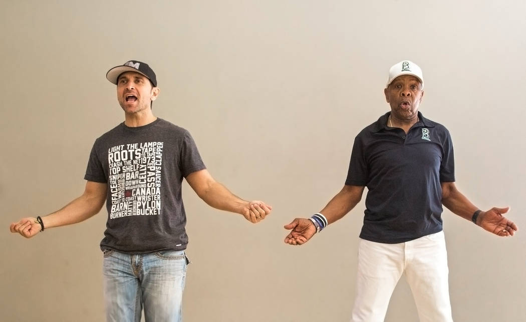 "Travis Cloer, left, and Bubba Knight rehearse for Broadway in the Hood's show ""From Broadway With Love,"" on Tuesday, June 27, 2017, at Loft 5's studio, in Las Vegas. Benjamin Hager Las Vegas Revie ..."