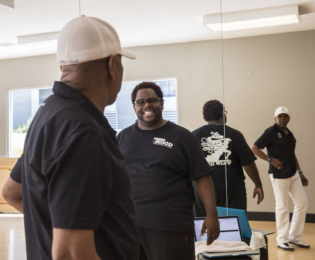 "Director Torrey Russell, middle, works with Bubba Knight during rehearsal for Broadway in the Hood's show ""From Broadway With Love,"" on Tuesday, June 27, 2017, at Loft 5's studio, in Las Vegas. Be ..."